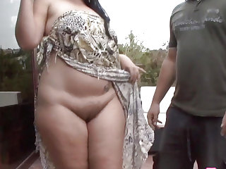 Curvy big beautiful woman interracially drilled outdoors