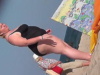 Big Beautiful Woman aged candid beach