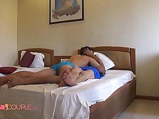 Indian couple with mask in their bedroom sexy bhabhi giving her husband a blowjob before fucking