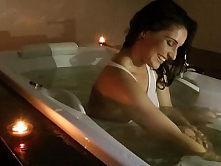 Sexy and hot brunette in her wet dreams alone at home in the bath