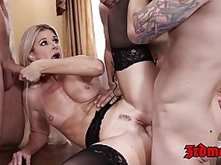 Blonde MILF penetrated by hung students