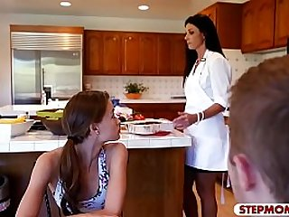 Kacy Lane and India Summer threesome sex in the kitchen