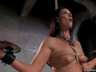 Master James Mogul gives slave training to brunette MILF India Summer while she is holding two heavy plates then anal fucks her with sex toy