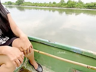 Sexy desi beb dildo playing on a boat.