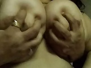Boobs pressed of desi wife enjoying
